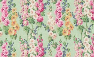 SANDERSON UK Meterstoff HOLLYHOCK mint pink Malven Stockrosen 1
