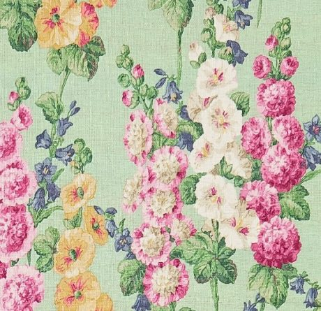 SANDERSON UK Meterstoff HOLLYHOCK mint pink Malven Stockrosen 2