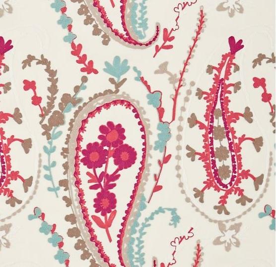SANDERSON UK Meterstoff JAMILA coral aqua Paisley Ornamente La Cassetta 2