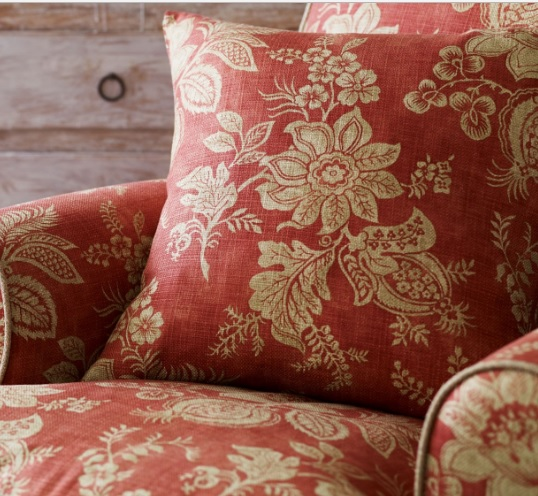 SANDERSON UK Meterstoff LYON russet floraler Damast rotbraun La Cassetta 3