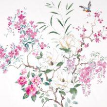 SANDERSON UK Meterstoff MAGNOLIA AND BLOSSOM blossom-leaf Magnolien Blüten pink 1