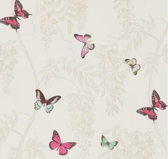 Meterstoff WISTERIA AND BUTTERFLY fuchsia: Stoff Blauregen Schmetterling Fuchsia 2