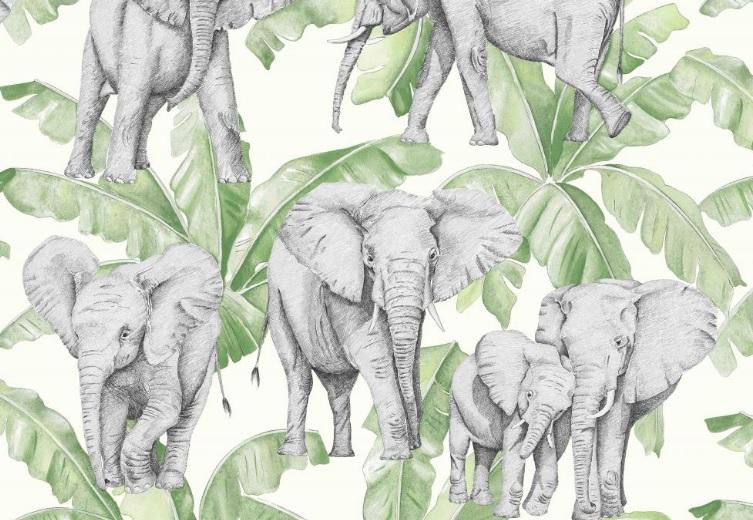 Thevenon Meterstoff La Cassetta IVOIRE vert mousse Elefanten Palmen 1