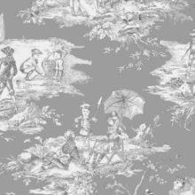 THEVENON Meterstoff TOILE DE JOUY La Cassetta HISTOIRE D'EAU fond gris