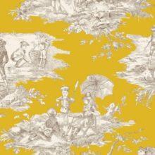 THEVENON Meterstoff TOILE DE JOUY La Cassetta HISTOIRE D'EAU fond moutarde