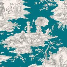 THEVENON Meterstoff TOILE DE JOUY La Cassetta HISTOIRE D'EAU gris fond bleu canard