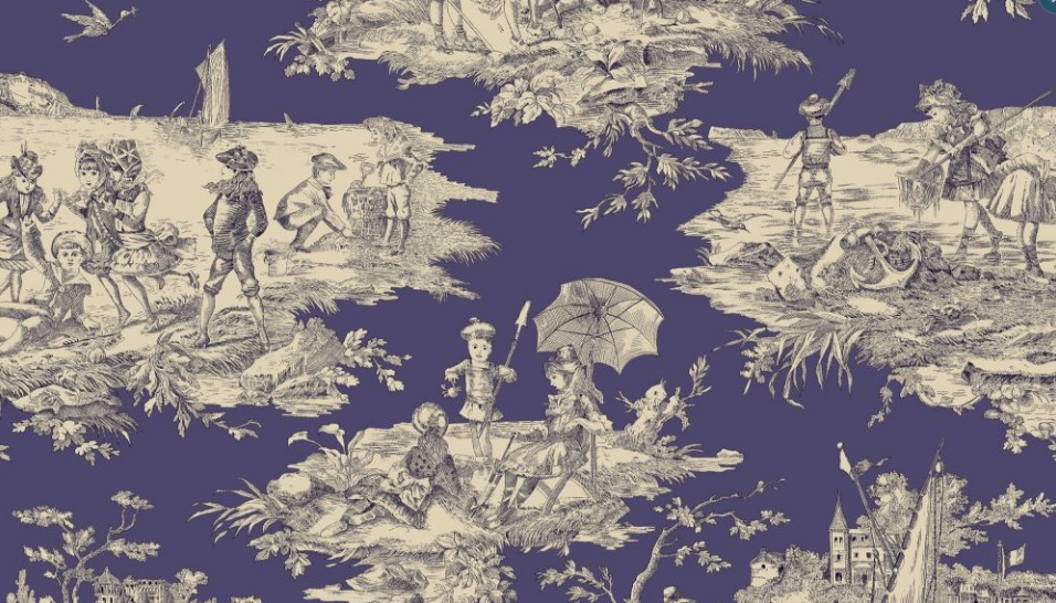 THEVENON Meterstoff Toile de jouy La Cassetta HISTOIRE D'EAU marine fond bleu