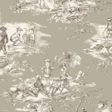 THEVENON Meterstoff TOILE DE JOUY La Cassetta HISTOIRE D'EAU sepia fond lin