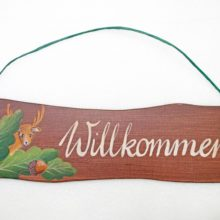 Dekoschild Holz WILLKOMMEN Hirsch Eicheln Blätter Herbst La Cassetta
