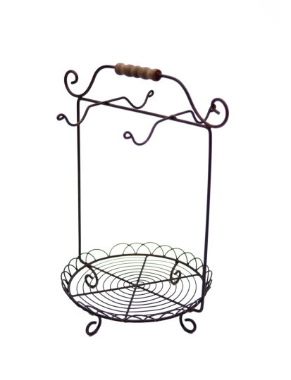 eisen st nder tassenbaum f r tassen unterteller mit holzgriff la cassetta. Black Bedroom Furniture Sets. Home Design Ideas