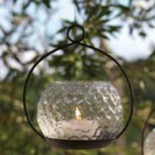 Eisen Hänge Windlicht Teelichthalter mit Glas WMG La Cassetta