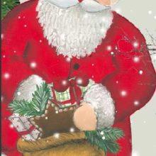 Holzdeko Aufsteller Nikolaus Weihnachtsmann mit Geschenkssack XL La Cassetta