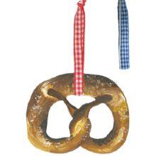 Holzdeko Hänger BREZEL mit blau weißem Karo Band Oktoberfest La Cassetta