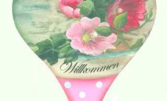 Holzschild HERZ Blüten rosa pink Efeu Tupfen rosa weiss Willkommen La Cassetta
