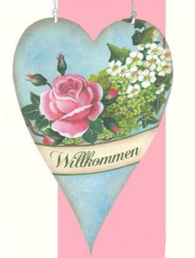 Holzschild HERZ Rose rosa Efeu Holunderblüten Willkommen La Cassetta