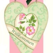 Holzschild HERZ Wildrosen mint rosa Willkommen La Cassetta