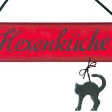 Holzschild Hexenküche mit Katze rot schwarz Herbst Halloween La Cassetta