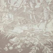 THEVENON Meterstoff Toile de jouy HISTOIRE D EAU fond beige La Cassetta