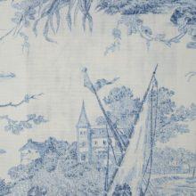 THEVENON Meterstoff Toile de jouy HISTOIRE D EAU bleu La Cassetta