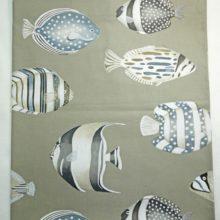 THEVENON Tischdecke COPACABANA leinen Fische 150x250cm La Cassetta
