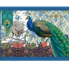 Tablett MICHEL DESIGN WORKS groß PEACOCK Pfau blau