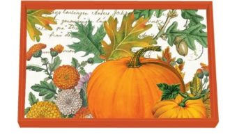 Tablett MICHEL DESIGN WORKS klein PUMPKIN MELODY Kürbis orange Herbst