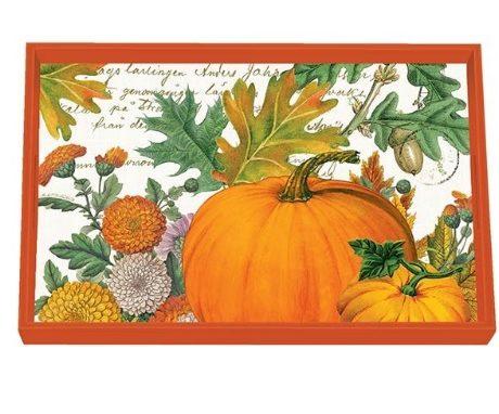 Tablett MICHEL DESIGN WORKS klein PUMPKIN MELODY Kürbis orange Herbst