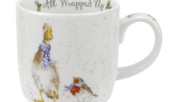 Royal Worcester WRENDALE All Wrapped Up Mug Gans und Rotkehlchen La Cassetta