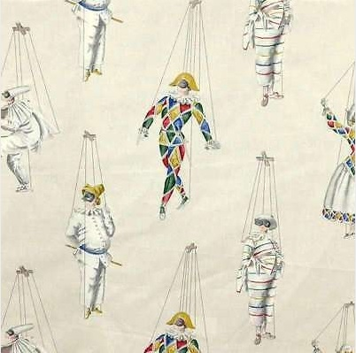 THEVENON Meterstoff JEU DE MAINS fond creme Marionetten Harlekin Karneval La Cassetta 1