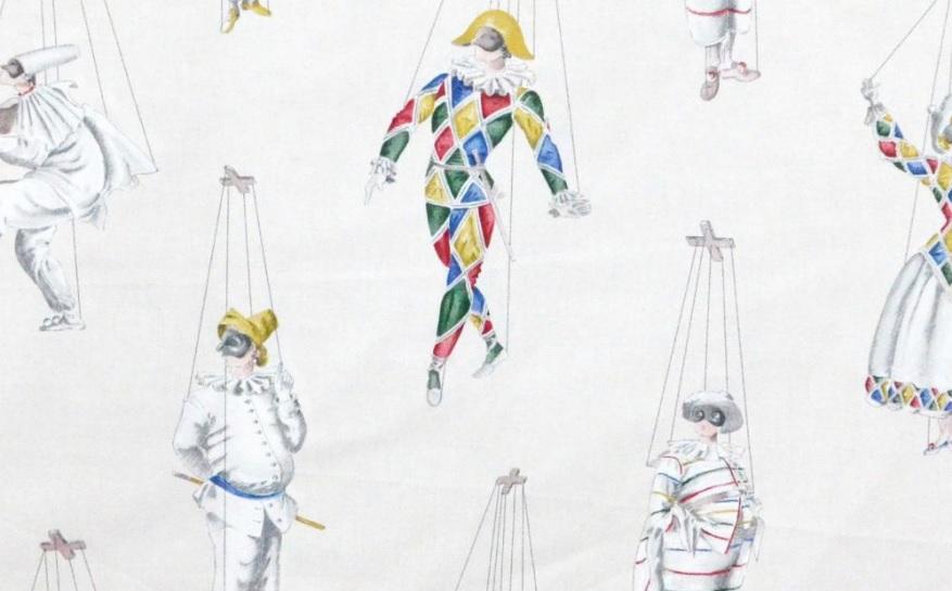 THEVENON Meterstoff JEU DE MAINS fond creme Marionetten Harlekin Karneval La Cassetta 2
