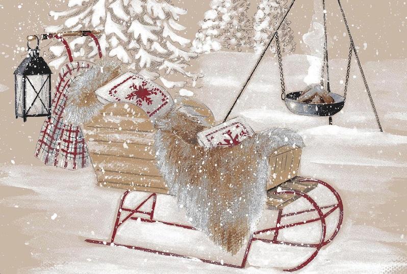 THEVENON Stoff La Cassetta RENNES DES NEIGES 2 Winter Weihnachten