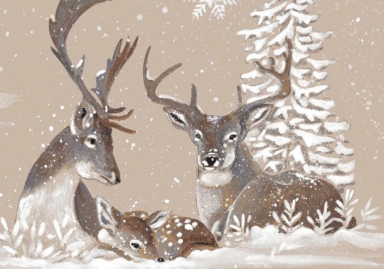 THEVENON Stoff La Cassetta RENNES DES NEIGES 3 Winter Weihnachten