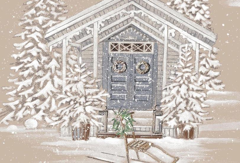 THEVENON Stoff La Cassetta RENNES DES NEIGES 6 Winter Weihnachten