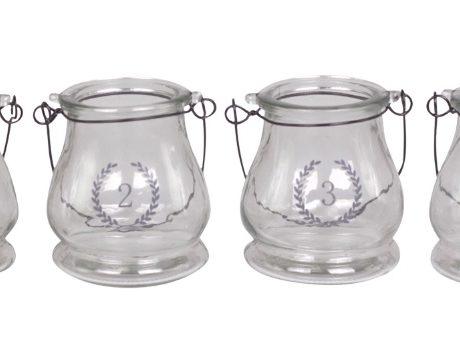 Advent Deko Teelichter Windlichter Glas 1 2 3 4 Adventleuchter nostalgisch La Cassetta 2