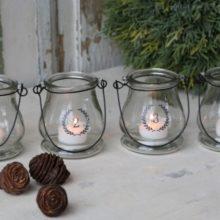 Advent Deko Teelichter Windlichter Glas 1 2 3 4 Adventleuchter nostalgisch La Cassetta