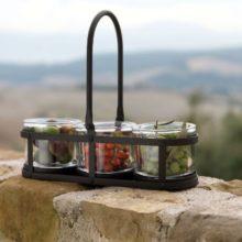 Eisen Teelichthalter SIENA 3 Glaseinsätze SIENA WMG 2 La Cassetta