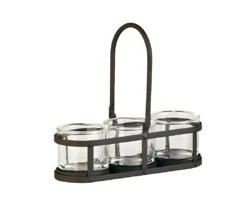 Eisen Teelichthalter SIENA 3 Glaseinsätze SIENA WMG La Cassetta