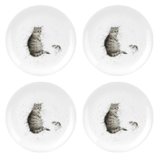 Royal Worcester WRENDALE Dessertteller 4er Set CAT & MOUSE La Cassetta