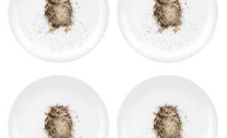 Royal Worcester WRENDALE Dessertteller 4er Set WHAT A HOOT OWL Eulen La Cassetta