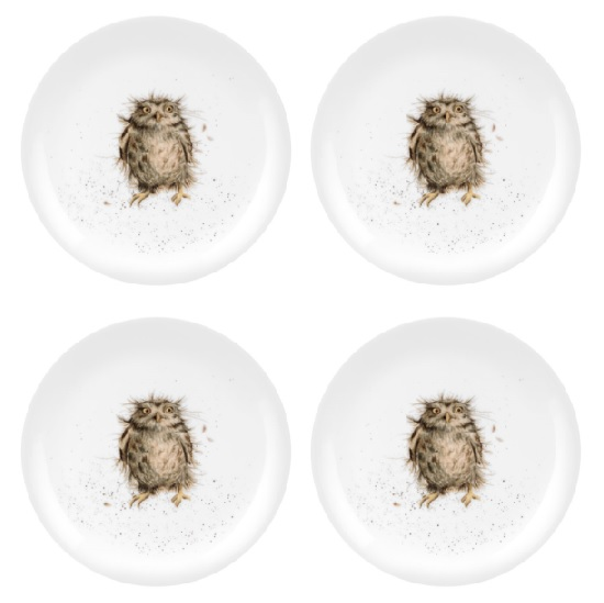 Royal Worcester WRENDALE Dessertteller 4er Set WHAT A HOOT OWL Eulen La Cassetta