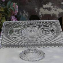Tortenplatte Aufsatz Glas eckig Shabby Chic nostalgisch La Cassetta