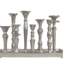 ALU Stabkerzenleuchter 8-fach Kerzenhalter aus Aluminium La Cassetta