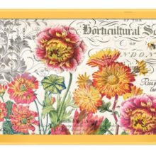 Tablett Michel Design Works Lacktablett Decoupage groß Blooms and bees Blüten gelb La Cassetta
