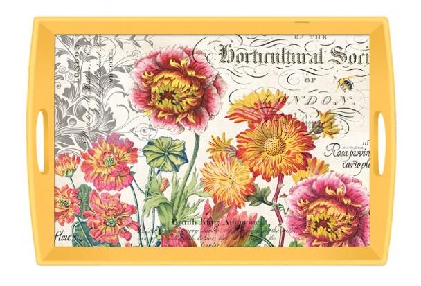 Tablett Michel Design Works Lacktablett Decoupage groß Blooms and bees Blüten gelb La Cassetta