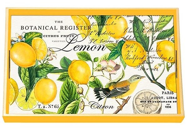 Tablett Michel Design Work Lacktablett Decoupage klein LEMON BASIL Zitrone gelb La Cassetta