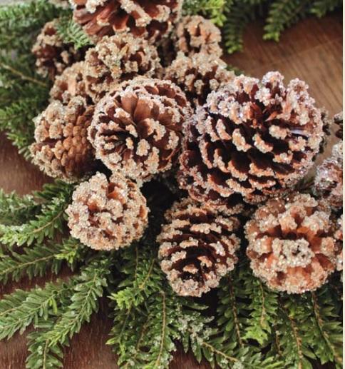 Dekokranz Tanne Zapfen Glitter Eis Winter Weihnachten groß 60cm La Cassetta 2