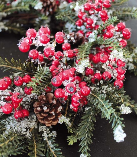 Dekokranz mit roten Beeren Zapfen Eis Winter Weihnachten 55cm La Cassetta 2