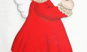 Holzdeko Aufsteller Christkind Engel rot mit Kerze groß Landhaus Weihnachten La Cassetta
