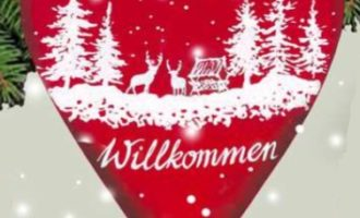 Holzdeko Schild Herz Wald Rehe Glitzer rot weiß WILLKOMMEN Winter Weihnachten La Cassetta