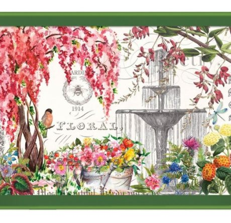 Tablett lack Decoupage MICHEL DESIGN WORKS groß IN THE GARDEN Blumen Frühling La Cassetta